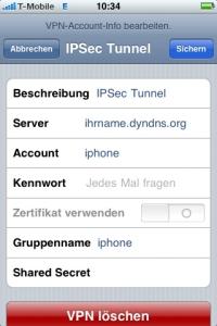 beim verbinden mit dem apple id server